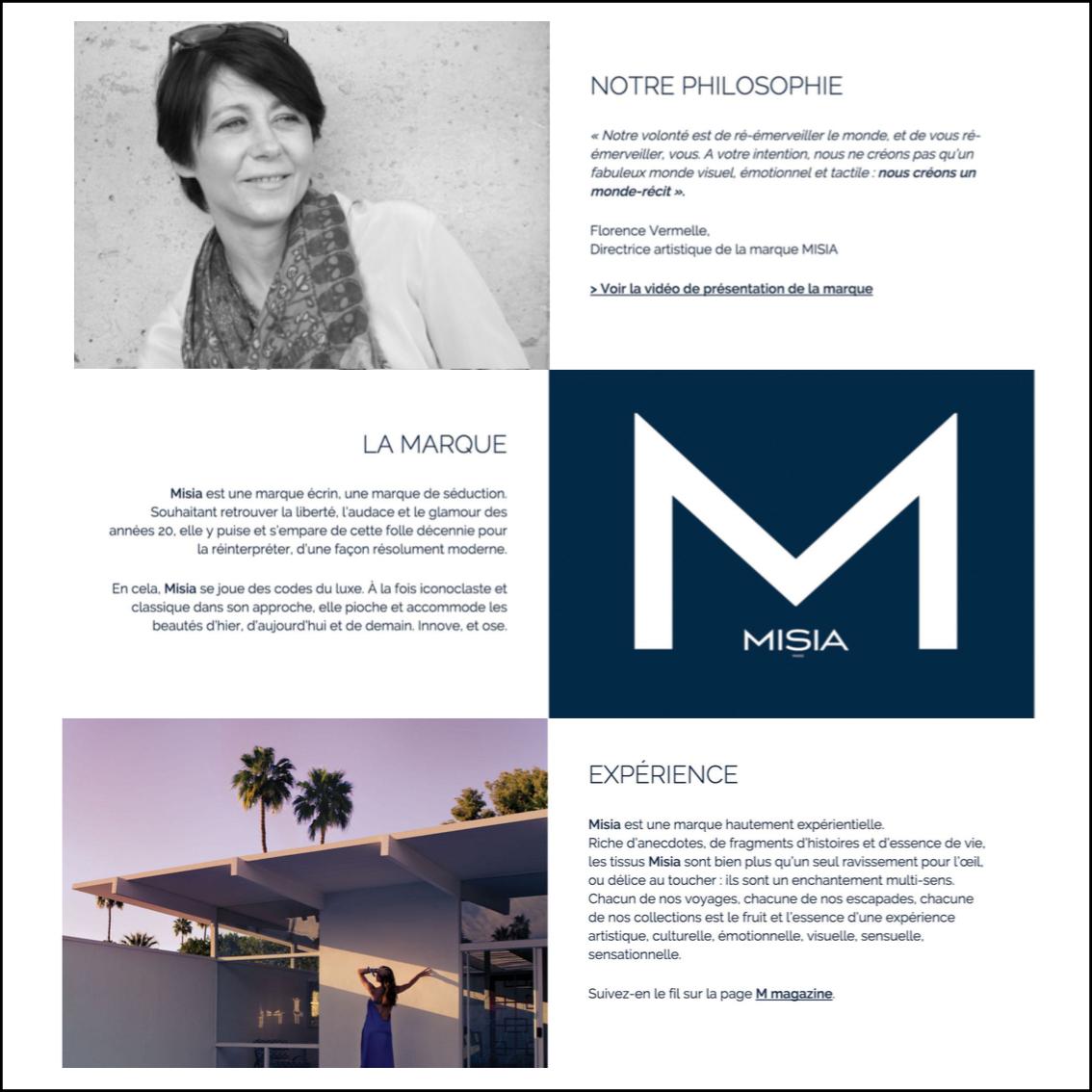 Conception de l'univers et l'ADN de la marque Misia Paris par Raphaëlle Rédactrice, concepteur rédacteur web à Paris