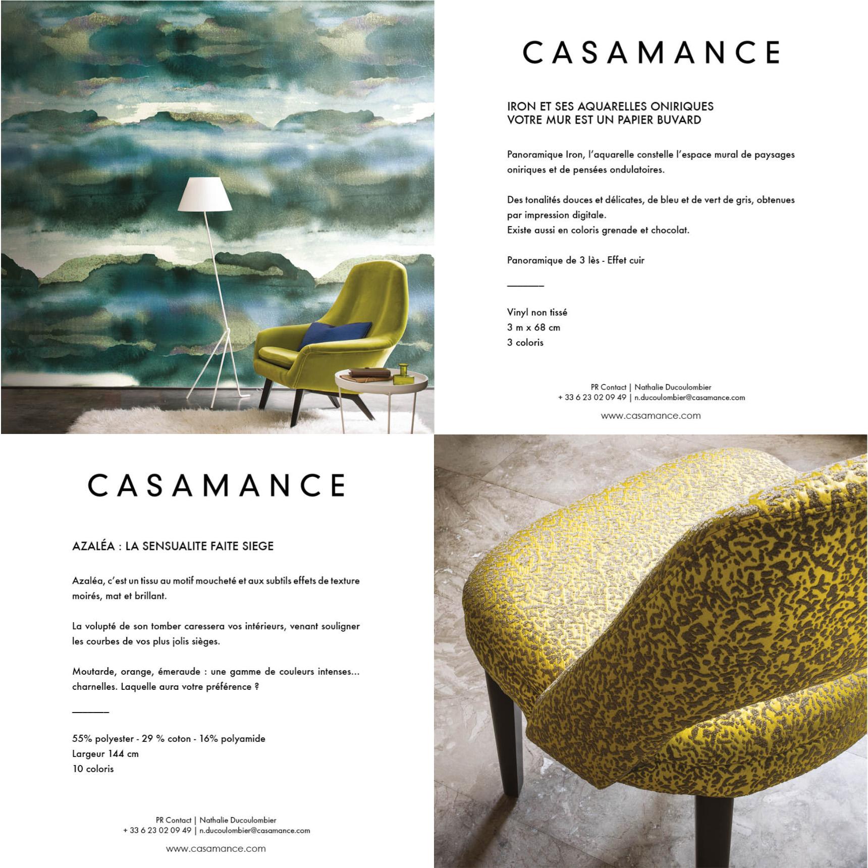 Envois Presse et Newsletters Casamance rédigés par Raphaëlle Rédactrice, concepteur rédacteur web à Paris
